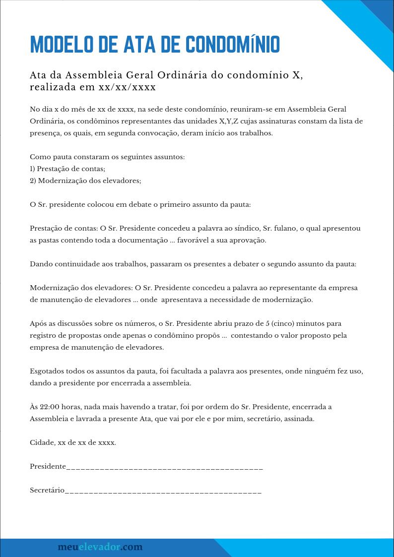 Modelo De Ata De Condominio Meuelevadorcom