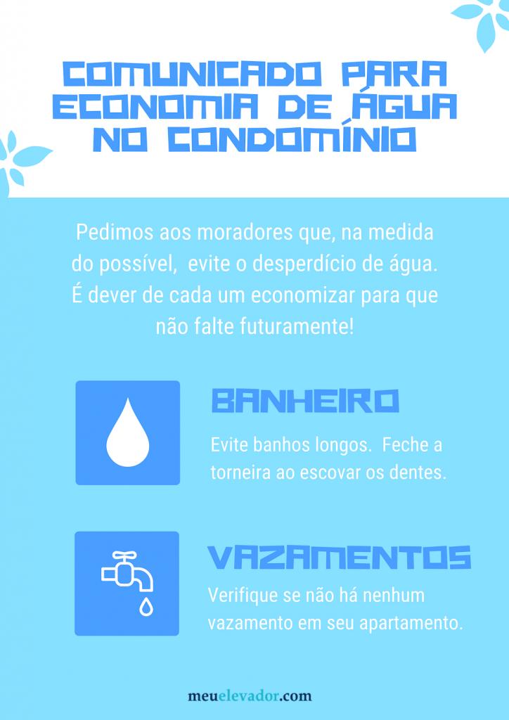 comunicado para economizar água no condomínio